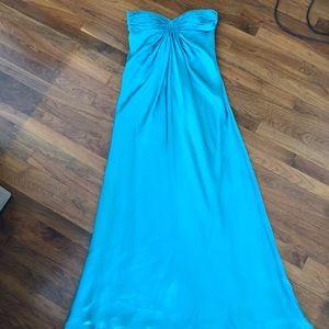 Beautiful teal satin strapless dress!